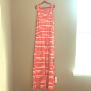 Gap, salmon and beige striped maxi dress